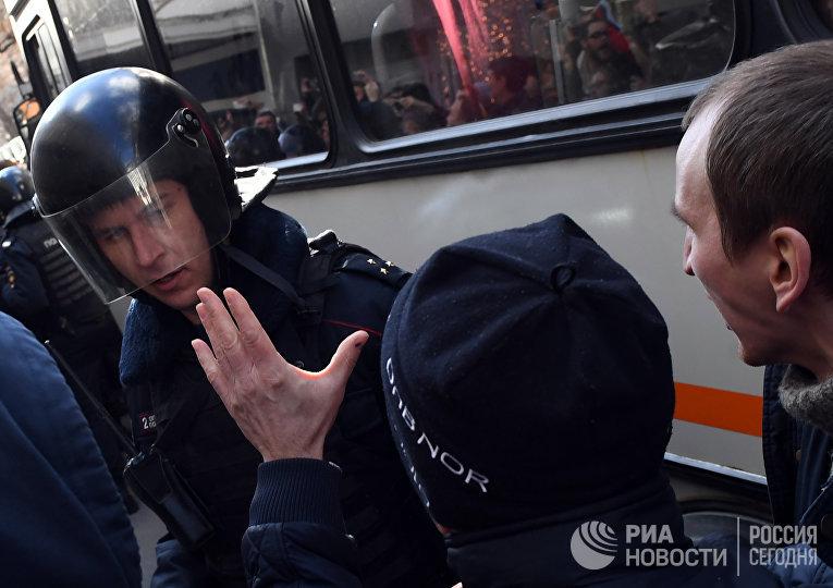 Несанкционированная акция в Москве против коррупции