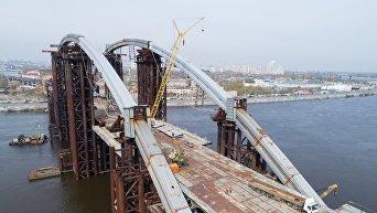 Строительство Подольско-Воскресенского моста в Киеве