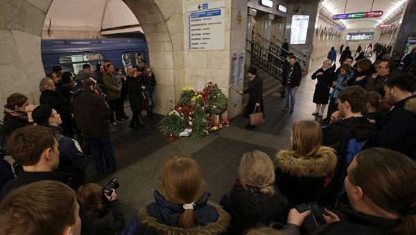 На месте взрыва в метро