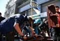 Акция протеста около Сбербанка в Киеве
