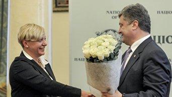 Валерия Гонтарева и Петр Порошенко. Архивное фото