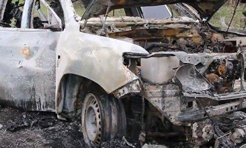 Кадры с места подрыва автомобиля СММ ОБСЕ