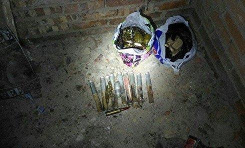 Схрон с оружием в зоне АТО, обнаруженный 25 апреля 2017