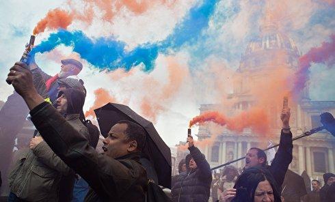 Акция протеста полицейских в Париже