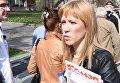 Блогер, журналист, оппозиционный активист Мария Баронова во время несанкционарованной акции движения Открытая Россия в Москве