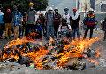 Стычки демонстрантов с полицией во время протестов в Венесуэле. Архивное фото