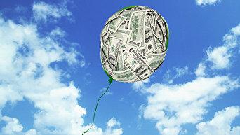 Воздушный шарик из долларов (коллаж)