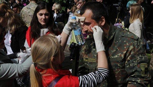 Стычка во время Марша Победы в Днепре