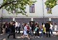 Очередь за биометрическими паспортами в центре обслуживания граждан Паспортный сервис в Киеве