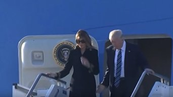 Мелания и Дональд Трамп в Италии. Видео