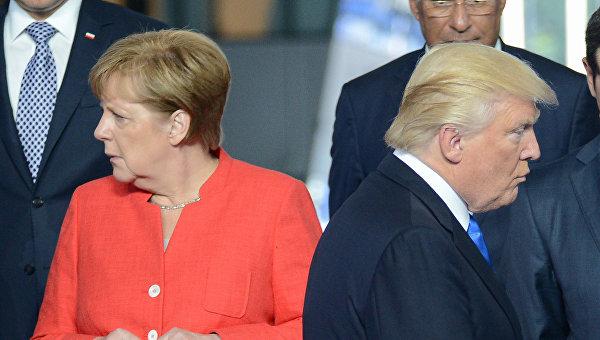 Президент США Дональд Трамп и федеральный канцлер ФРГ Ангела Меркель. Архивное фото