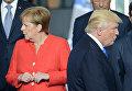 Президент США Дональд Трамп и федеральный канцлер ФРГ Ангела Меркель в Брюсселе