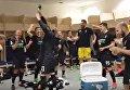 Футболисты ФК Заря радуются третьему месту в чемпионате Украины. Видео