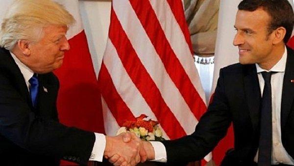 Встолице франции  завершились переговоры между Макроном иТрампом