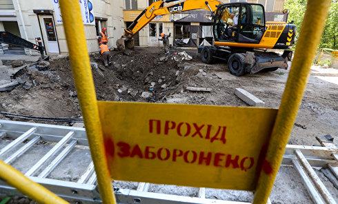 Ликвидация последствий масштабного прорыва магистрального трубопровода в Киеве
