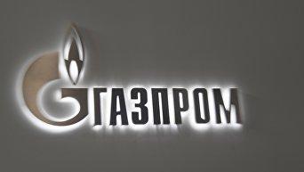 Логотип на павильоне компании Газпром