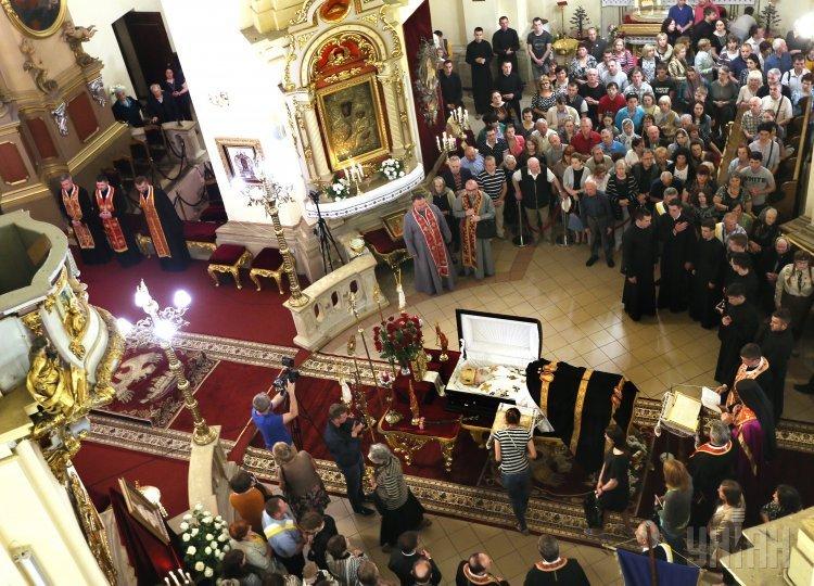 Прощание с Блаженнейшим Любомиром Гузаром в архикатедральном соборе Святого Юра во Львове.