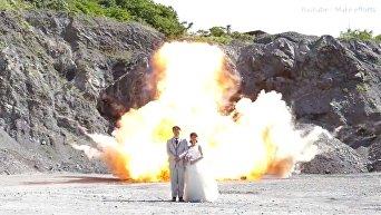 Японская пара устроила взрыв для крутых свадебных фото