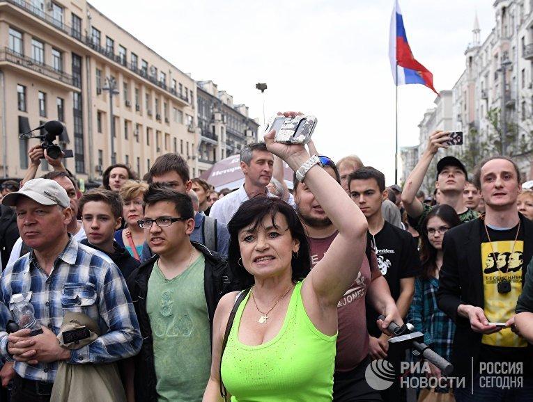 Несанкционированная акция в Москве