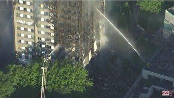 Пожар в лондонской многоэтажке с высоты птичьего полета