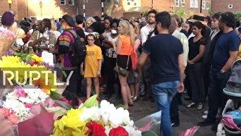 Панихида по жертвам пожара в Лондоне. Видео