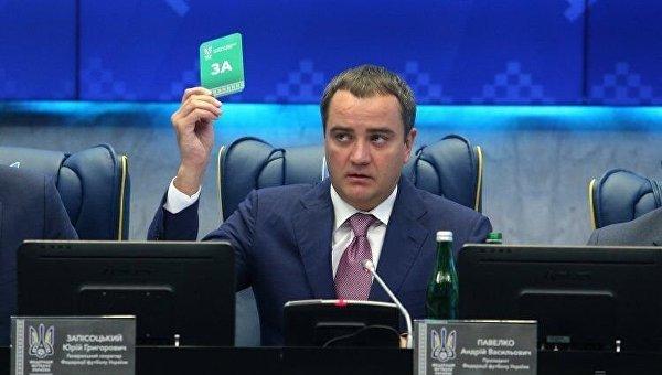 Президент Федерации футбола Украины Андрей Павелко во время заседания ХХ Конгресса Федерации футбола Украины в Киеве