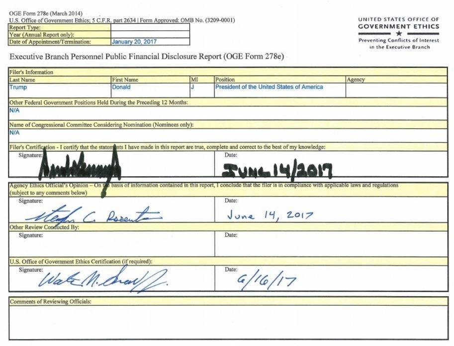 ВСША опубликовали финансовую декларацию Трампа