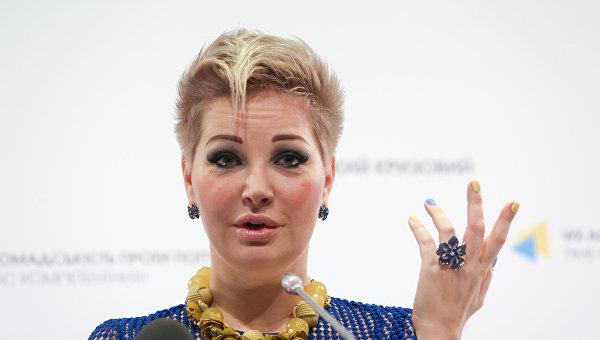 Оперная певица, экс-депутат Госдумы Мария Максакова во время пресс-конференции в Киев