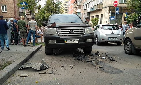 В центре Киева взорвался джип