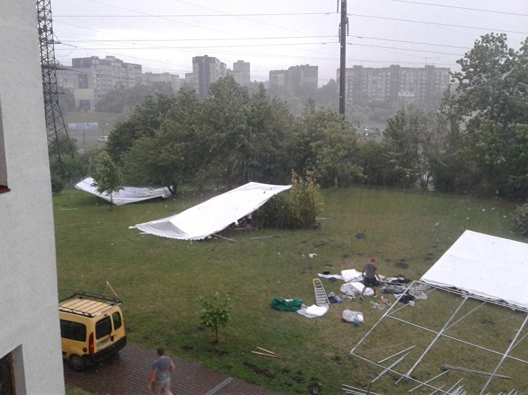 Непогода воЛьвове: повалены десятки деревьев, повреждены автомобили икрыши зданий