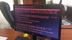 Кибератака в Украине: требования вируса-вымогателя Петя на экране монитора