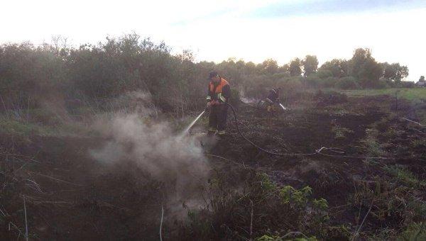 Cотрудники экстренных служб гасят возгорание торфяников вПолтавской области