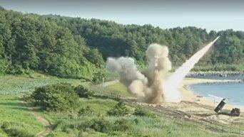 Учебные ракетные стрельбы США и Южной Кореи. Видео