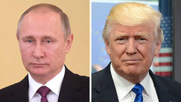 Президенты РФ и США Владимир Путин и Дональд Трамп