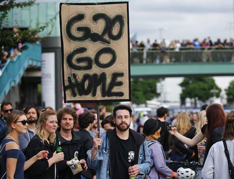 Протесты в Гамбурге против саммита G20