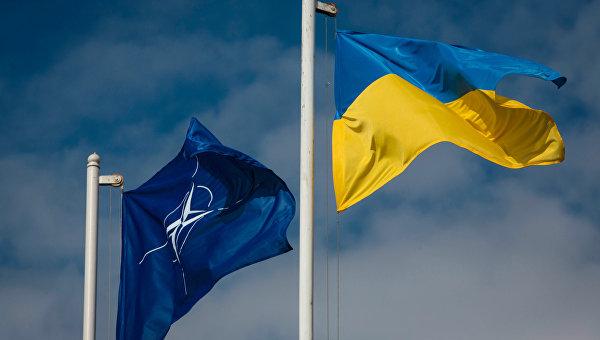 Флаг Украины и флаг Организации Североатлантического договора (НАТО)
