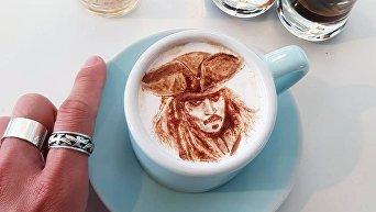 Корейский художник делает картины на кофе