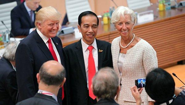 Президент США Дональд Трамп, президент Республики Индонезии Джоко Видодо и директор-распорядитель Международного валютного фонда Кристин Лагард
