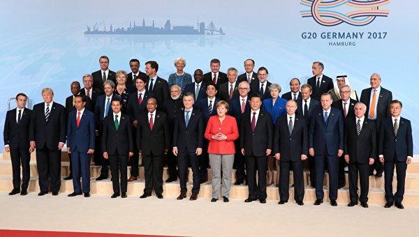 Церемония совместного фотографирования глав делегаций государств-участников Группы двадцати G20 в Гамбурге