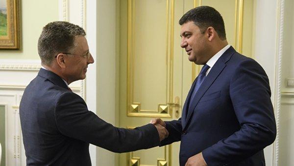 Владимир Гройсман в ходе встречи со спецпосланником США Куртом Волкером