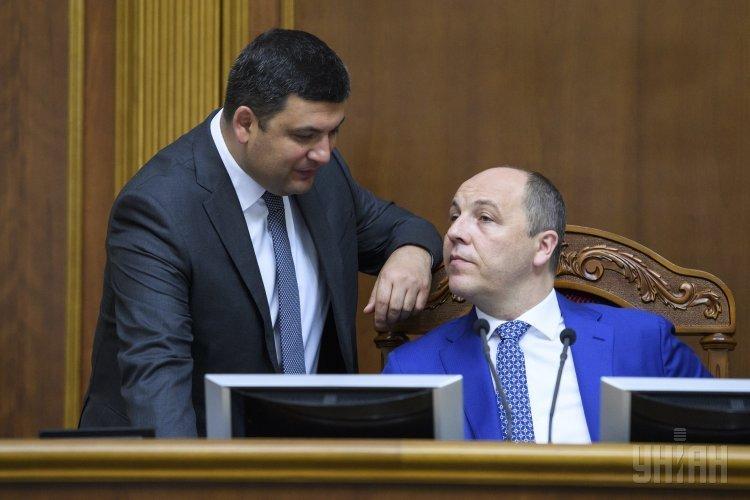 Премьер Гройсман и спикер Парубий в Раде во время Часа вопросов к правительству