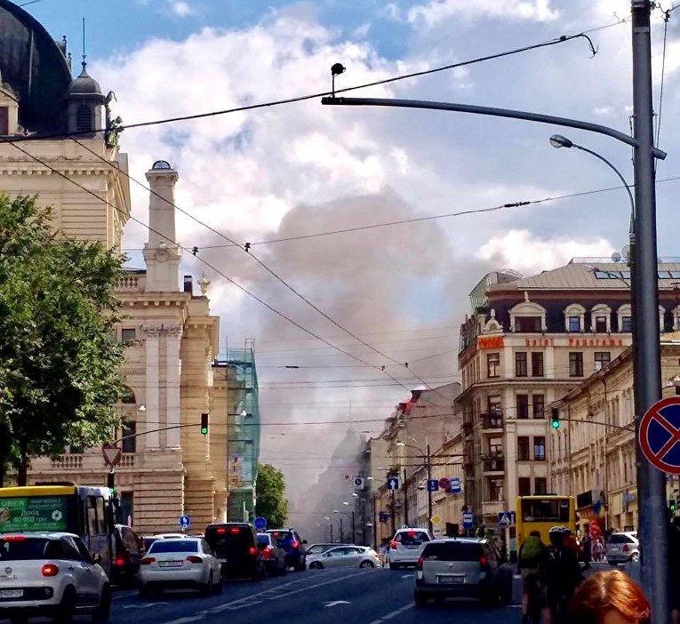 Пожар в центре Львова