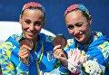 Елизавета Яхно и Анна Волошина (Украина), завоевавшие бронзовые медали в Будапеште