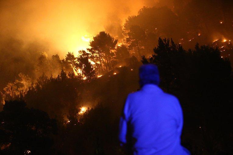 Лесной пожар в курортном городе Сплит, Хорватия