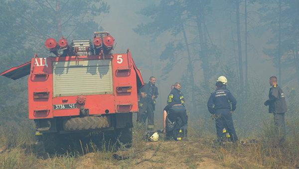 Ликвидация пожара на военном полигоне в Днепропетровской области