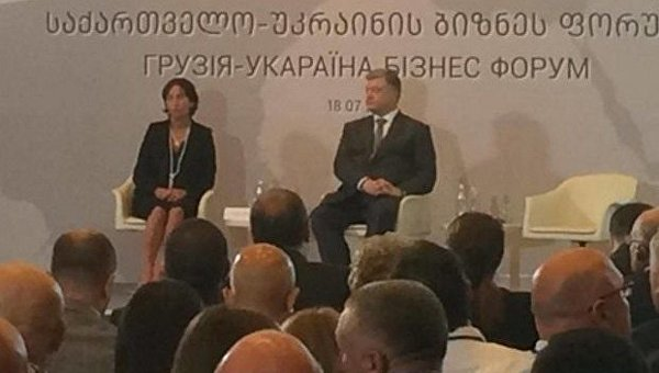 Порошенко в Грузии выступил на фоне баннера с ошибкой