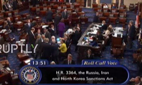 Голосование Сената США за новые санкции против РФ, Ирана и КНДР. Видео