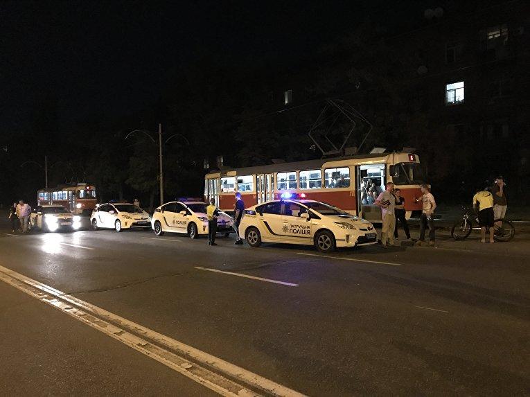 Блокирование Харьковского шоссе в Киеве. Полиция на месте событий