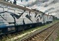 Нападение и раскраска электрички в Киеве