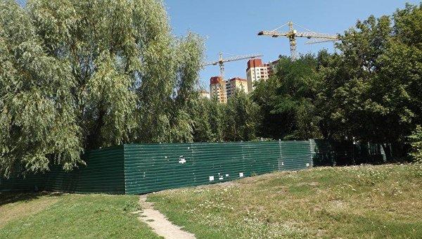 Вырубка деревьев в парковой зоне в Голосеевском районе Киева, 10 августа 2017